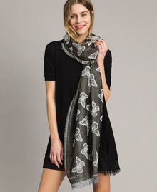 Lurex stole with butterflies Black Woman 191TO530B-0S