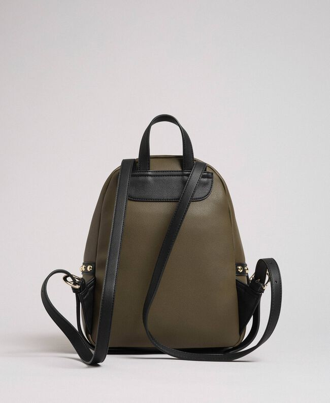 Two-tone faux leather backpack with studs Black Woman 192MA7104-04