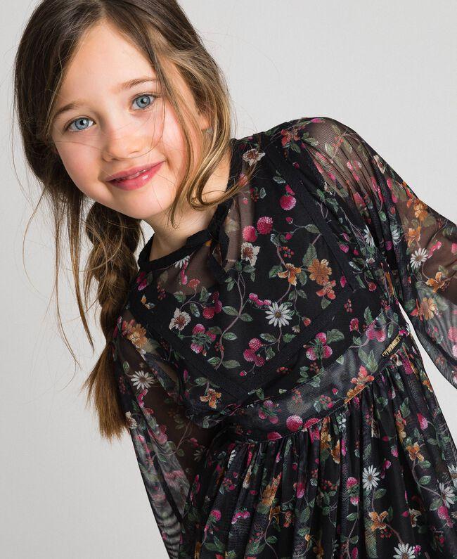 Tüllkleid aus Georgette mit Blumenprint Print Erdbeeren und Himbeeren Kind 192GJ2505-04