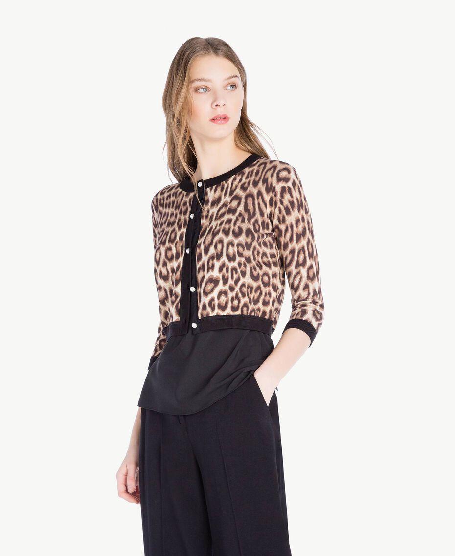 Jacke mit Perlen Leopardenprint Frau PS83LD-02