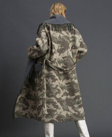 Camouflage wool cloth coat with fringes Camouflage Jacquard Woman 192TT2502-06