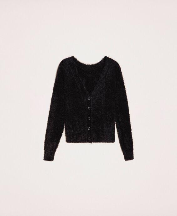 Fur effect yarn jumper-cardigan