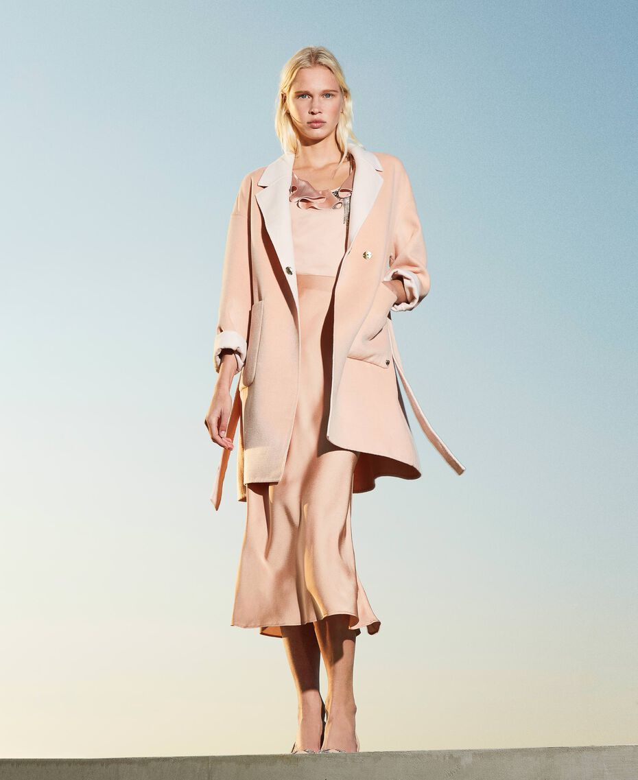 """Double wool cloth reversible coat Two-tone """"Nude"""" Pink /""""Blush"""" Pink Woman 202MP211A-02"""