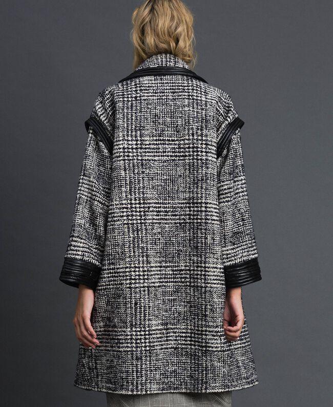 Manteau en drap Prince de Galles Jacquard Neige / Noir Femme 192TT2101-03