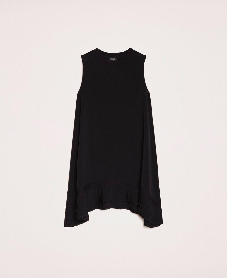Платье с жоржетом и кружевом шантильи Черный женщина 201MP235B-0S