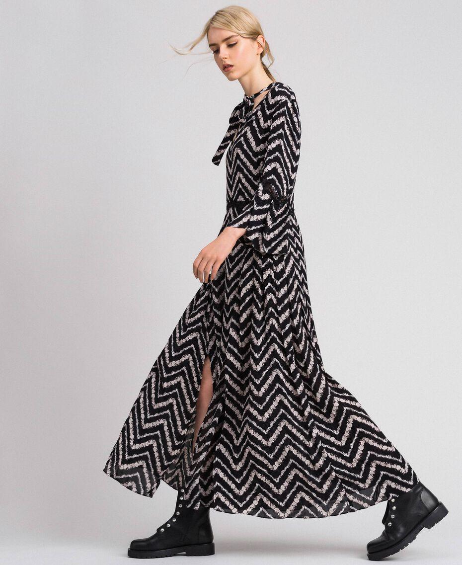 """Floral and chevron print long dress Black / """"Snow"""" Chevron Print Woman 192TP2527-02"""