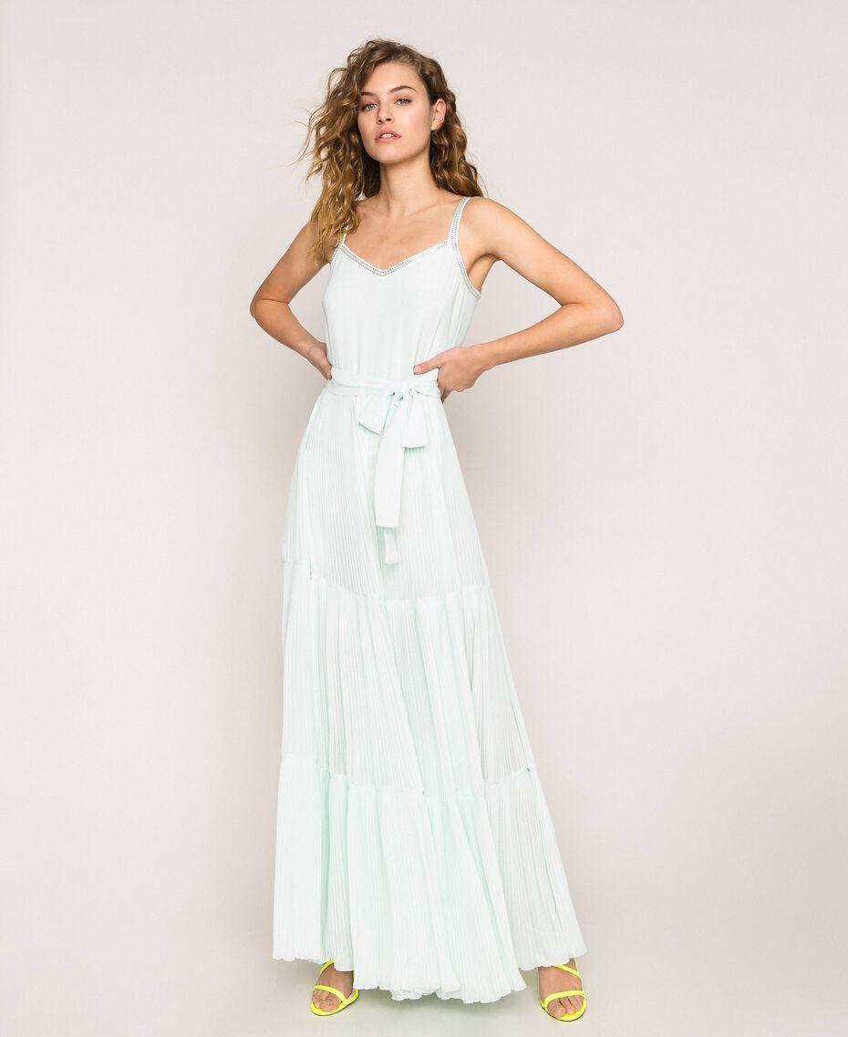 Combinaison en crêpe georgette plissé avec broderie Blanc Antique White Femme 201TT2091-02