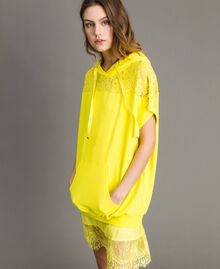 Maxi sweatshirt with hood and lace Fluorescent Yellow Woman 191MT2340-02