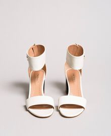 Leather sandals with button White Snow Woman 191TCP096-03