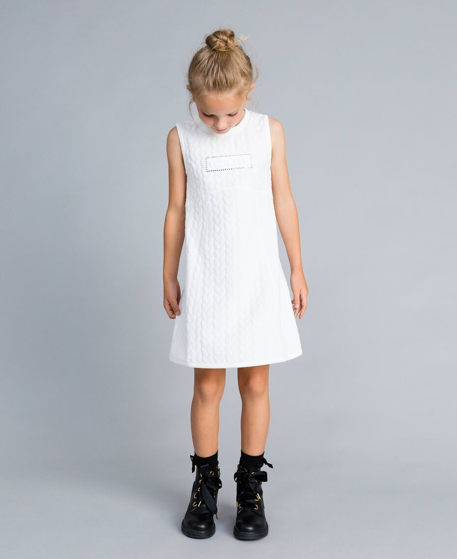 Matelassé fleece dress with rhinestones Off White Child GA82NP-0S
