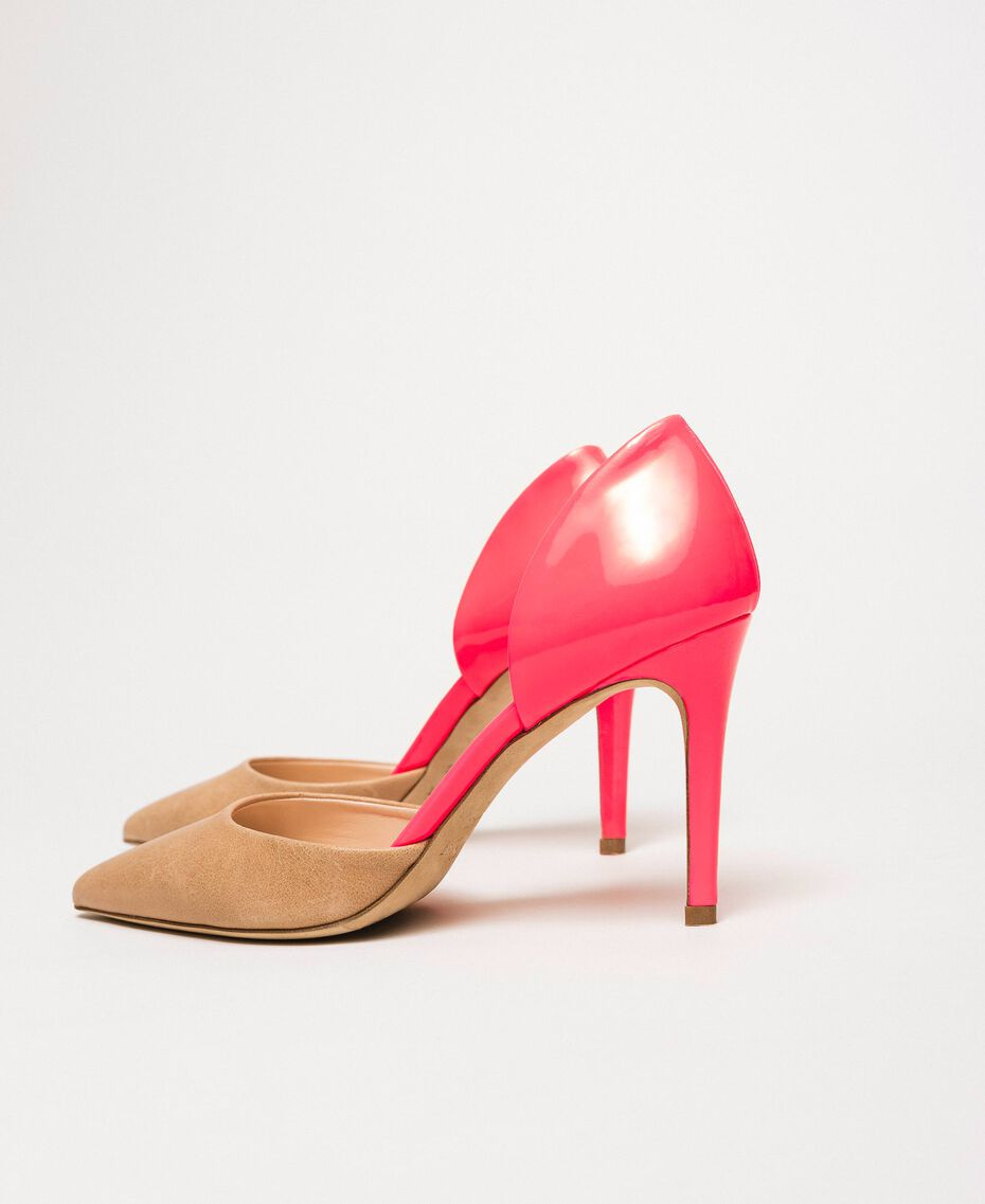"""Patent leather and leather court shoes Two-tone """"Desert"""" Beige / Fluo Fuchsia Woman 201TCP012-02"""
