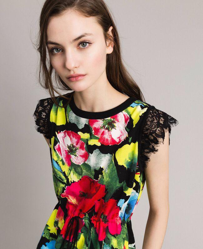 Patterned knit dress Macro Flower Black Print Woman 191TT3180-04