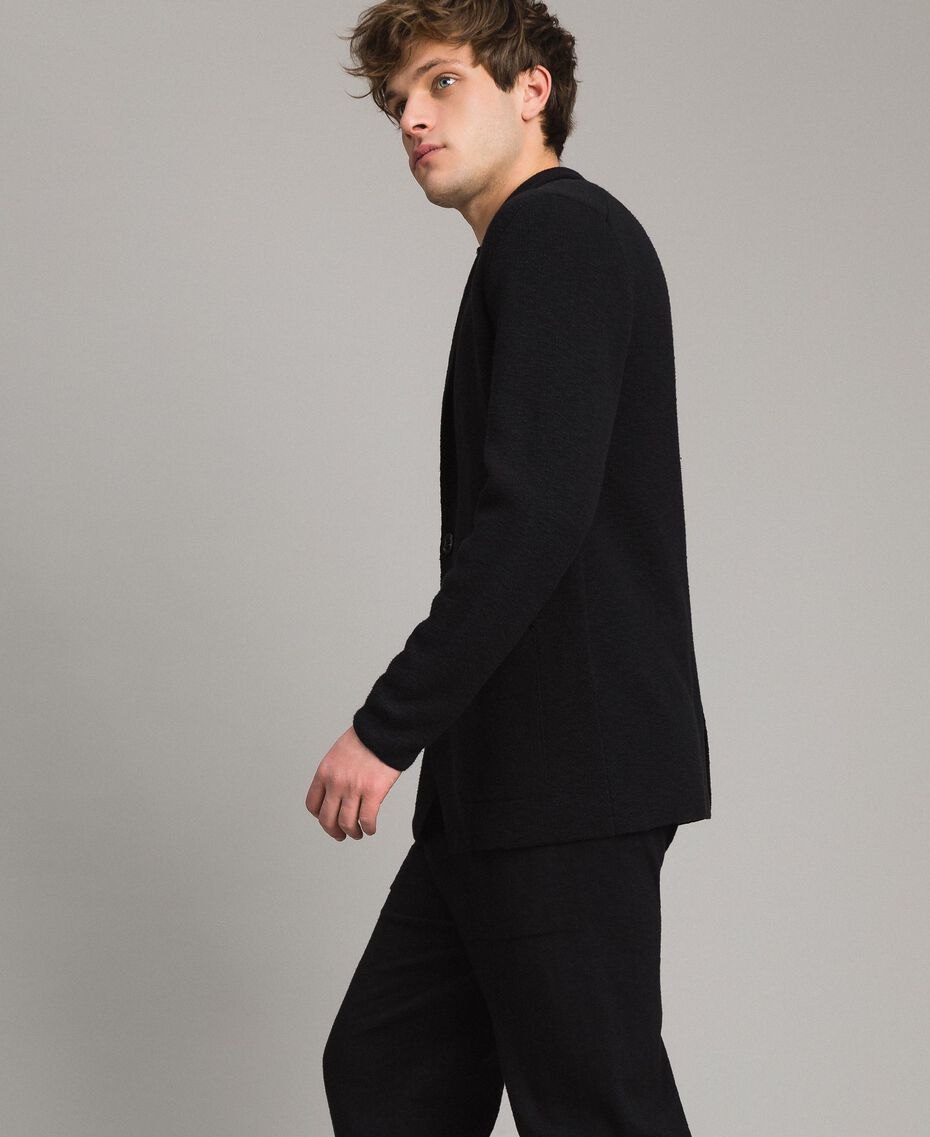 Cotton-blend knit jacket Black Man 191UT3090-02
