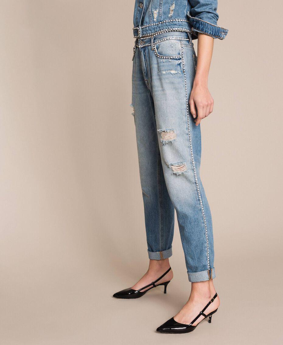 Jeans girlfriend con strass Denim Blue Donna 201MP2275-02