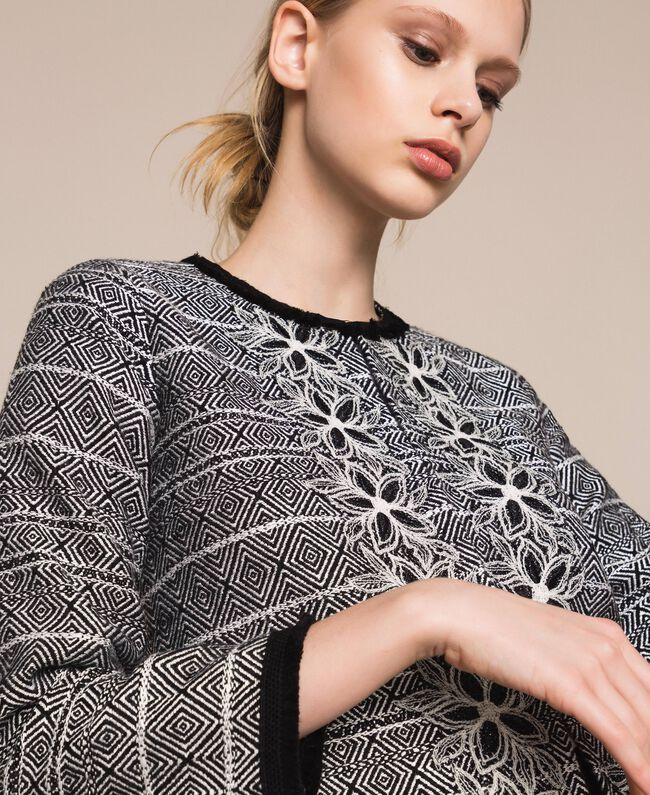 Tweed jacket with embroidery Black Woman 201LB23AA-04