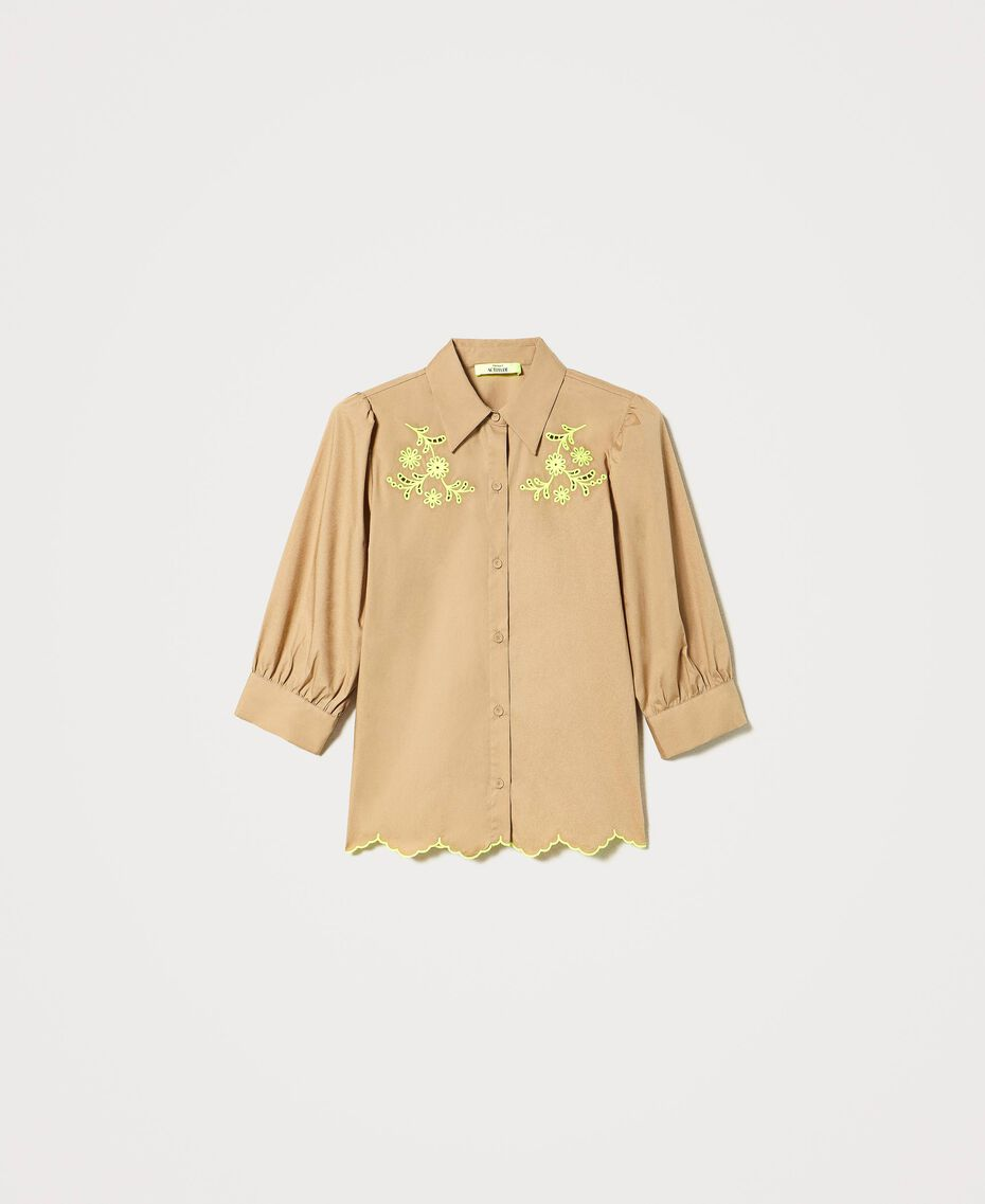 """Poplin shirt with high-vis embroideries """"Biscuit"""" Brown Woman 211MT2093-0S"""