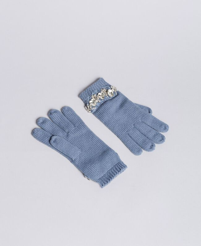 Embroidered knitted gloves with rhinestones Dusty Blue Woman AA8P5H-01