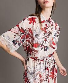 Long floral print georgette dress Exotic Ecru Print Woman 191ST2224-04