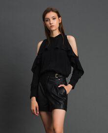 Chemise en crêpe de Chine avec volant Noir Femme 192TT2432-01