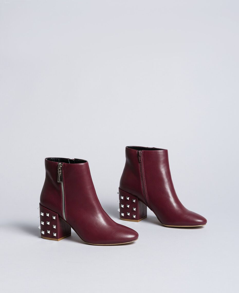 Faux leather ankle boots Bordeaux Woman DA8PJ1-02