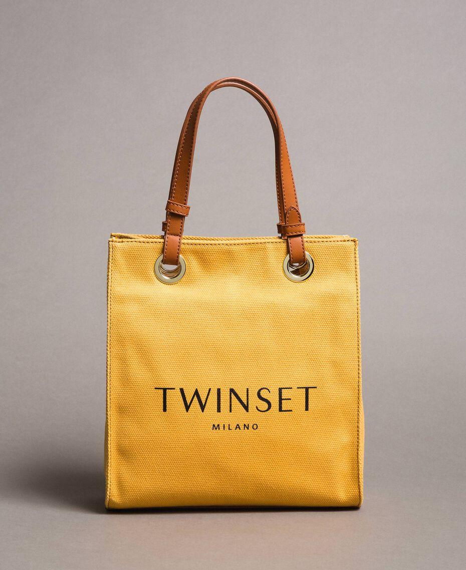 """Kleiner Shopper aus Canvas mit Logo """"Honey Gold"""" Frau 191TO8201-02"""