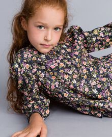 Printed viscose dress Micro Flower Print Child GA82TC-04