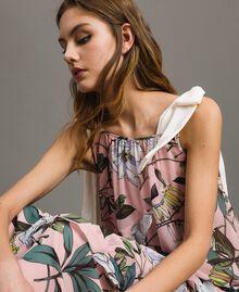 """Georgette-Maxikleid mit Blumenmuster Motiv Exotisch """"Soft Pink"""" Frau 191ST2223-04"""