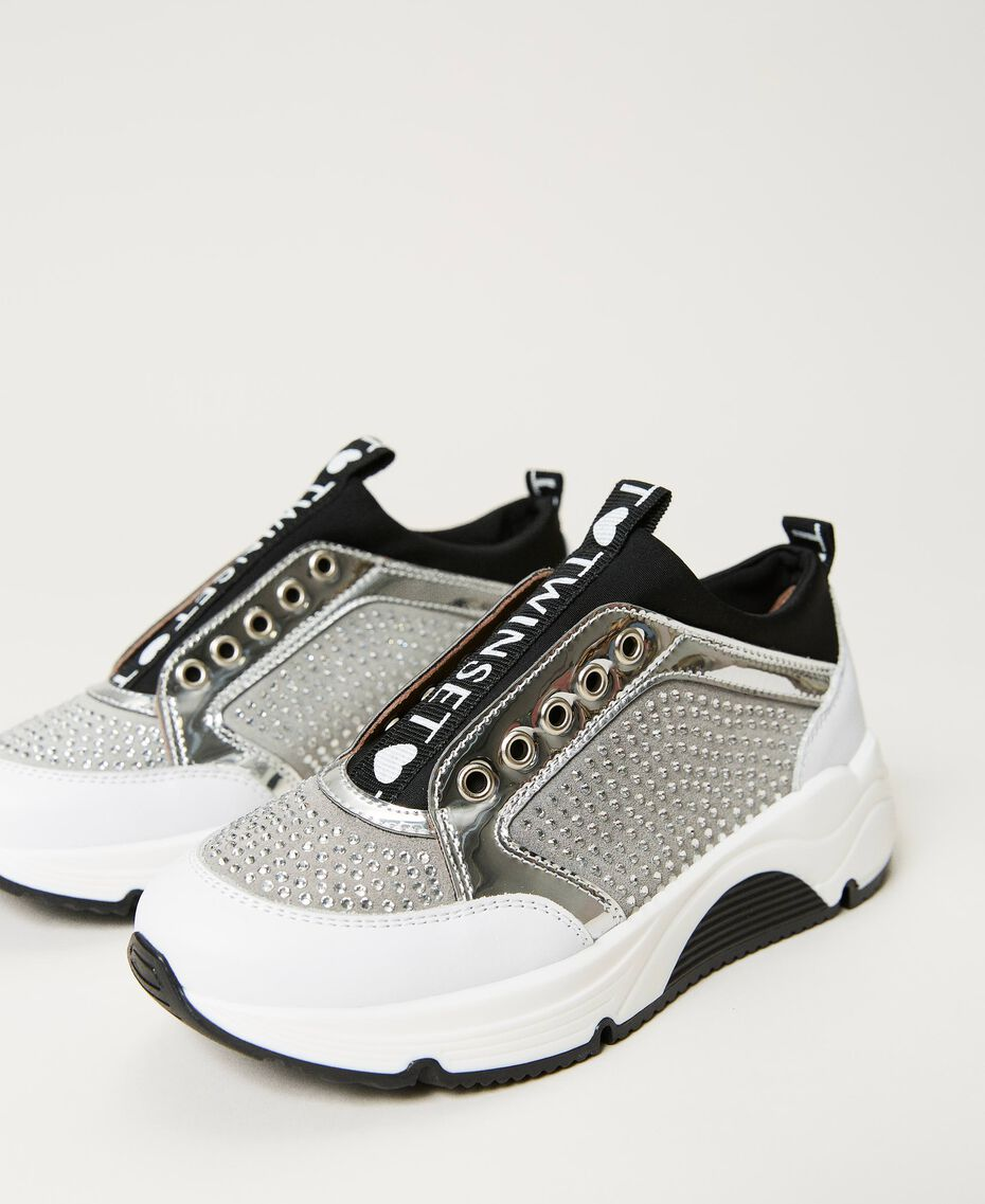 """Leather trainers with rhinestones Two-tone """"Off White"""" / Silver Child 211GCJ020-01"""