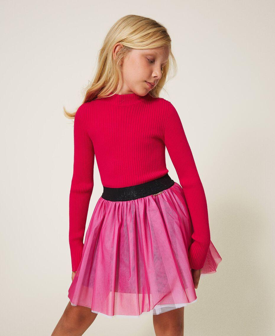 Gerippter Stehkragenpullover Pink Gloss Kind 202GJ3690-01