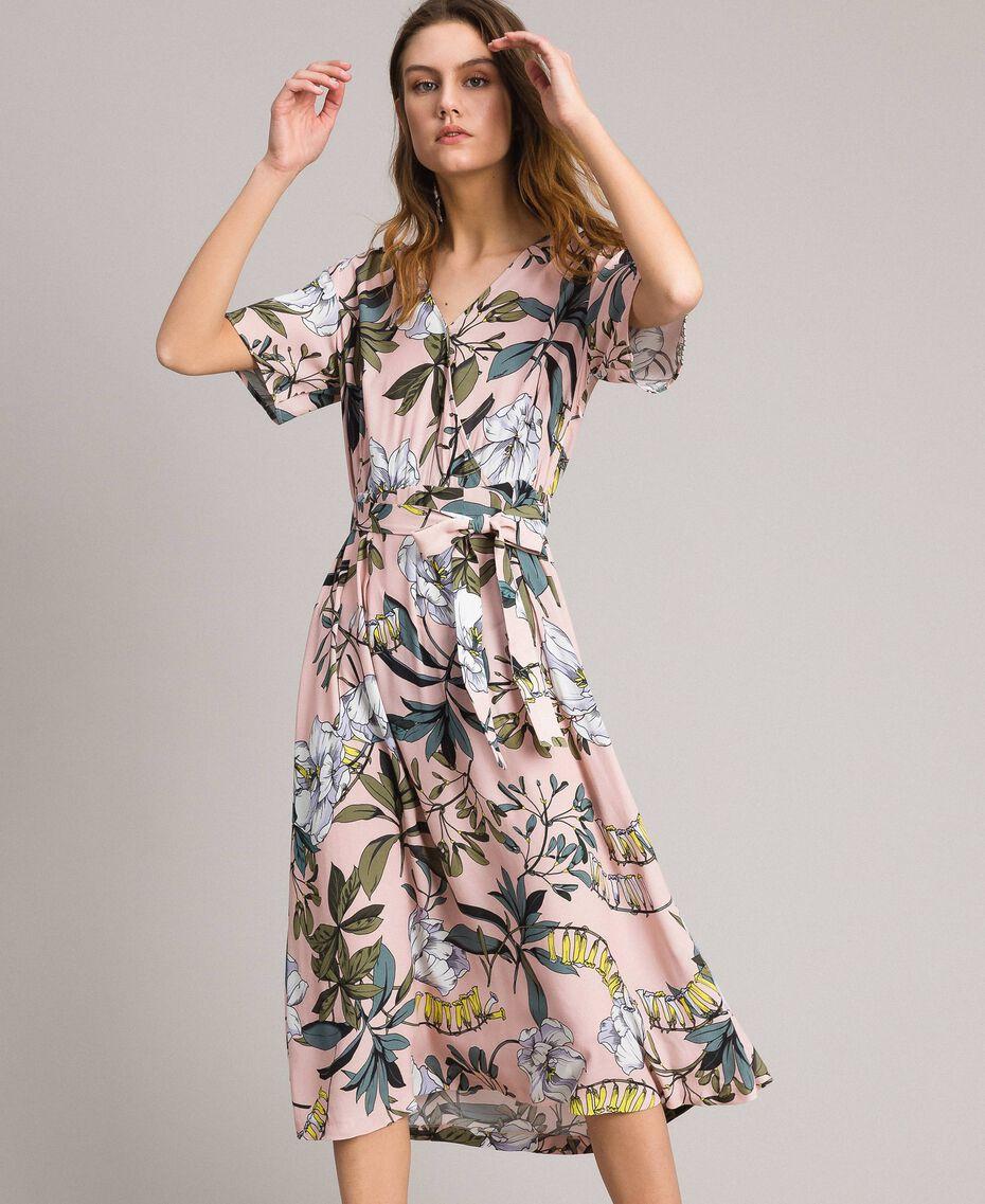 """Robe en crêpe avec imprimé floral Imprimé Exotique """"Rose Doux"""" Femme 191ST2232-01"""