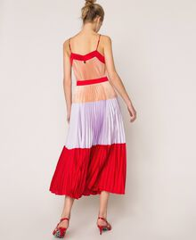 "Pleated long satin skirt Multicolour ""Lava"" Red / ""Ballerina"" Purple / Nude Pink Woman 201TP2313-03"