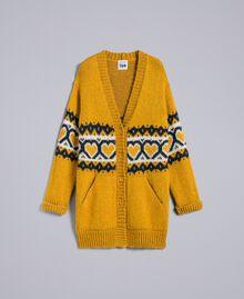 Maxicardigan mit Jacquardherzen Golden Yellow Frau YA8311-0S