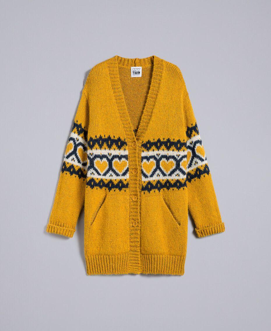 Maxi cardigan avec cœurs jacquard Golden Yellow Femme YA8311-0S