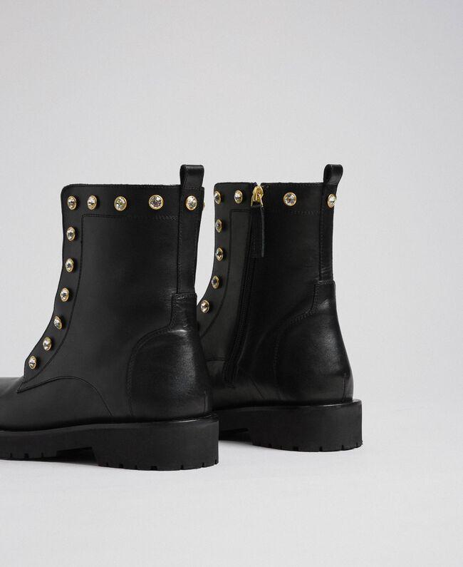 Кожаные ботинки-амфибии с шатонами Черный женщина 192TCP01N-03
