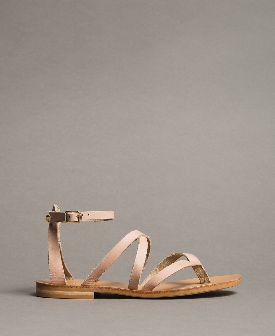 Leder-Sandalen mit Riemchen Nougat Beige Frau 191TCT09U-02