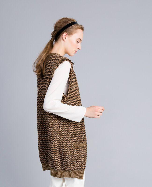 Maxi gilet en jacquard lurex Jacquard Camel Lurex Femme PA835D-01