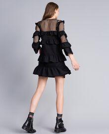 Kleid aus Netzstoff mit Volants Schwarz / Schwarz Frau JA82HP-03