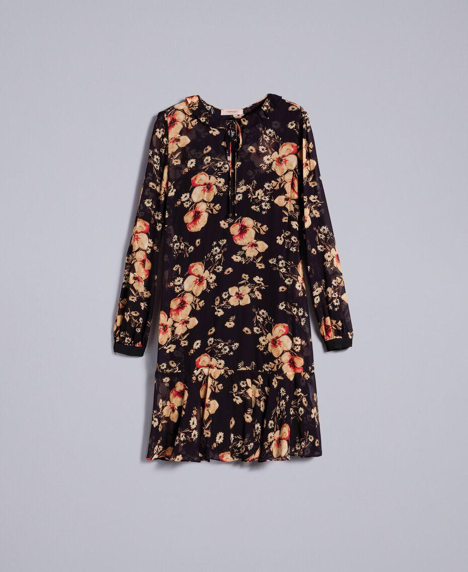 """Kleid aus Georgette mit Blumenprint Alloverprint """"Bouquet"""" Frau TA825F-0S"""