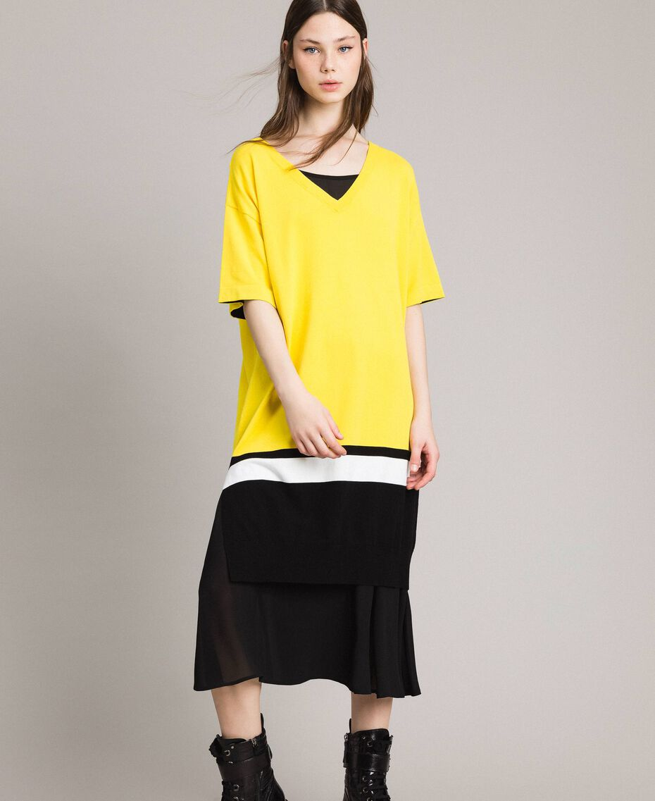 "Long dress with slip Two-tone ""Freesia"" Yellow / Black Woman 191MP3053-05"