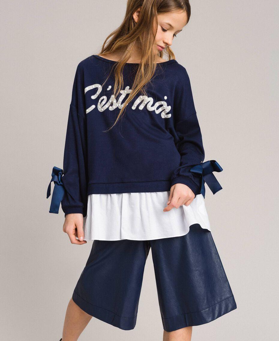 Sweat shirt au point de Milan et popeline Bicolore Indigo / Blanc Optique Enfant 191GJ2212-0S