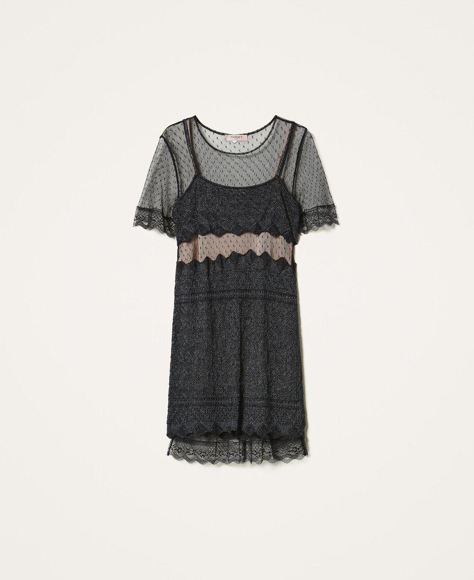 Платье из кружевного трикотажа и тюля Черный женщина 202TP3040-0S