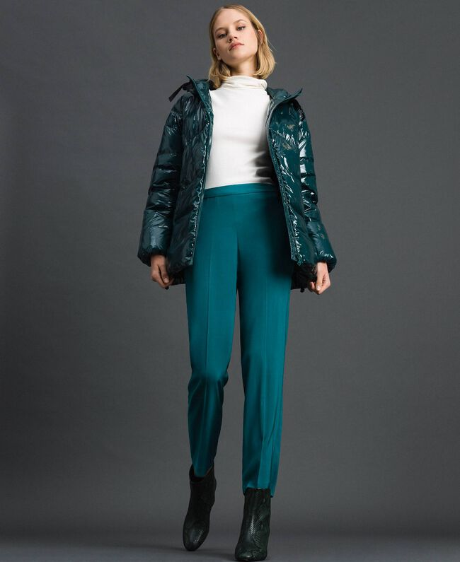 Pantalon cigarette en crêpe georgette Bleu Vert minéral Femme 192TP2386-01