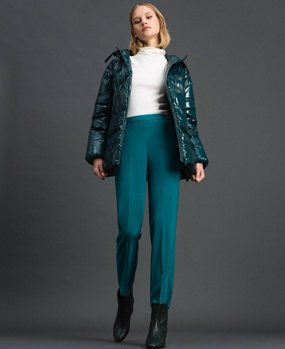 Pantalón pitillo de georgette Azul celeste Verde mineral Mujer 192TP2386-01