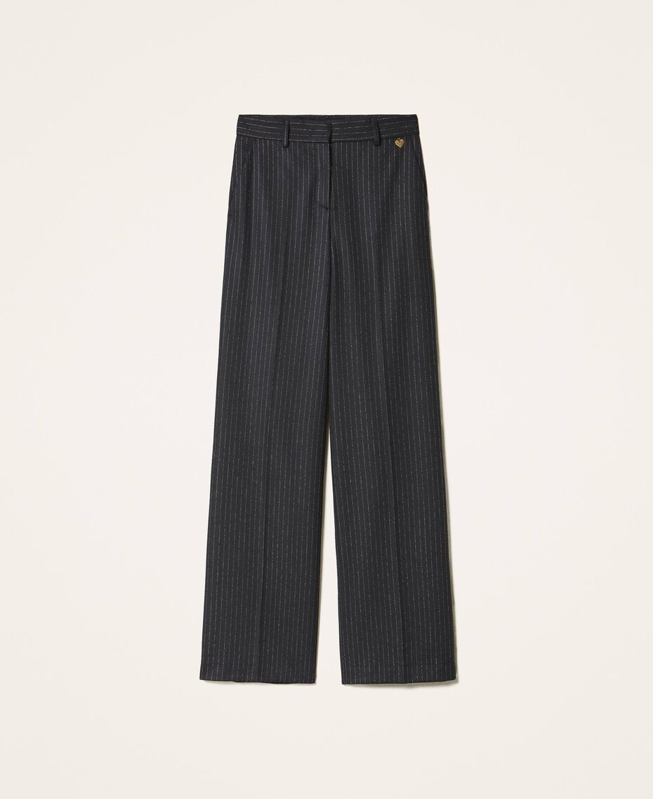 "Wool blend wide leg trousers Black / ""Lurex"" Gold Pin Stripe Woman 202TT2171-0S"