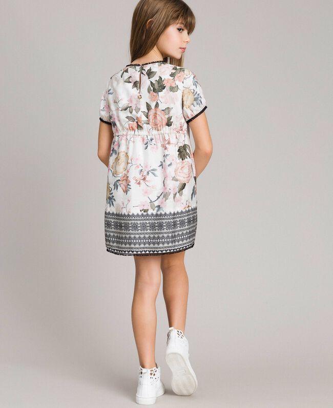 Viskose-Kleid mit Spitzen-Aufdruck und Blumenmuster Motiv Ramage Schmetterling Kind 191GJ2520-03