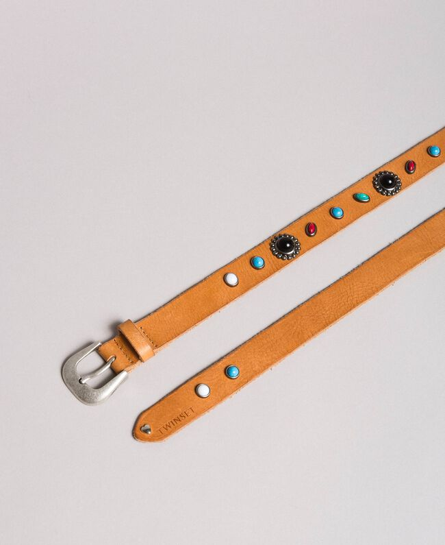 Studded leather belt Leather Brown Woman 191TO5335-01