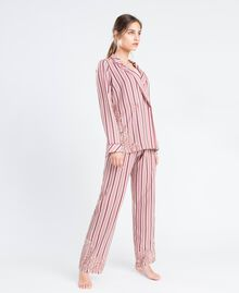"""Striped pyjamas with lace Multicolour """"Baroque Rose"""" Pink Stripe Woman IA8DNN-02"""