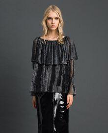 Blouse en tulle crépon métallique Noir / Argent Femme 192MT2142-04