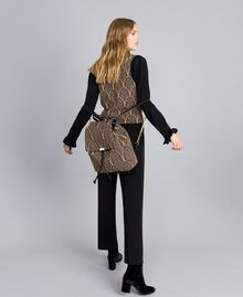 Wool blend and lurex jacquard gilet Black Gold Lurex Jacquard Woman TA8321-0T