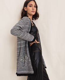 Long tweed jacket with embroidery Black Woman 201LB23BB-01